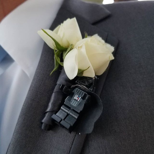 Groom's boutonniere with lego star wars figure