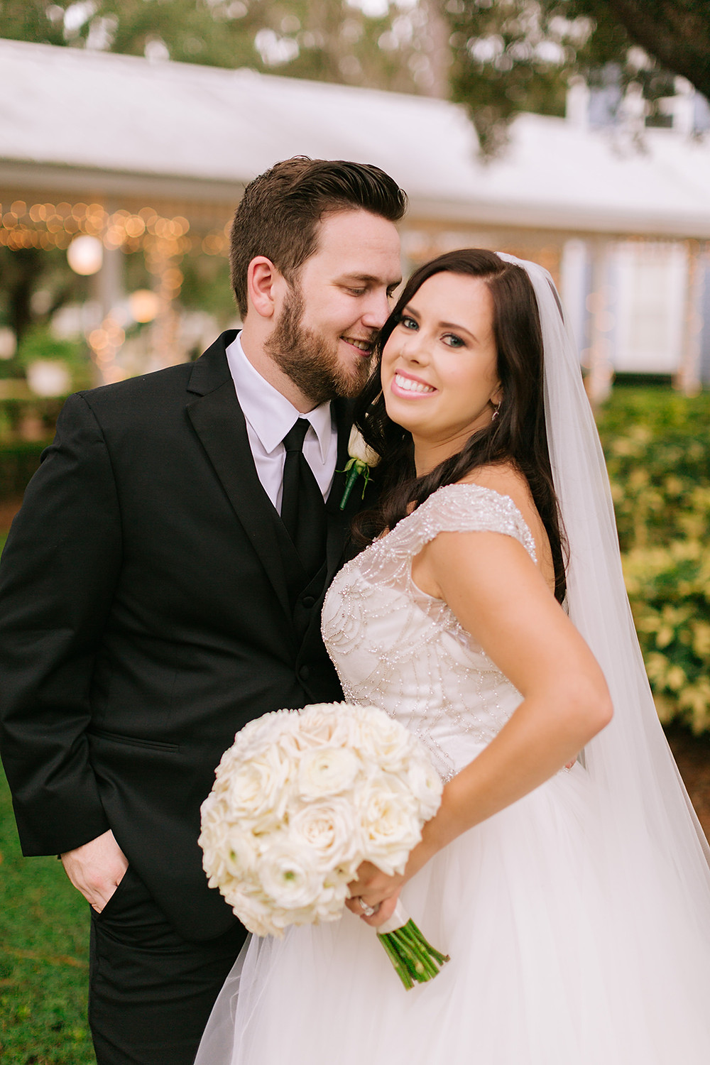 Bride and groom portrait after ceremony