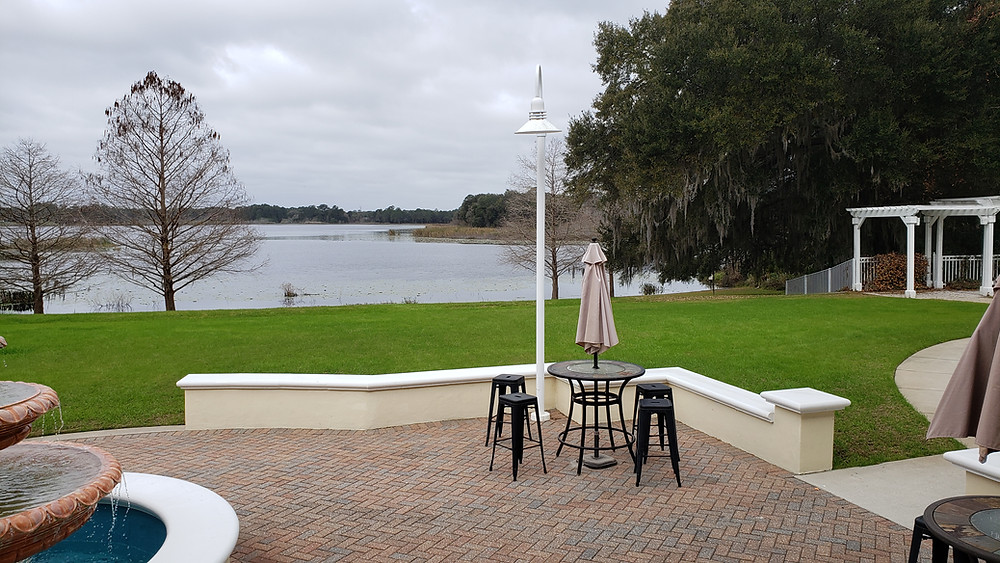 Outdoor patio and ceremony/reception space at Lake Mary Events Center