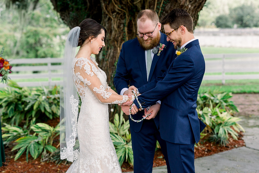 Handfasting ceremony at wedding
