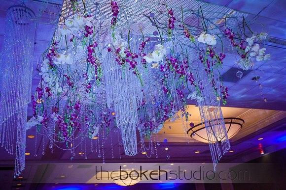Hanging floral installation at wedding Hilton Altamonte Springs