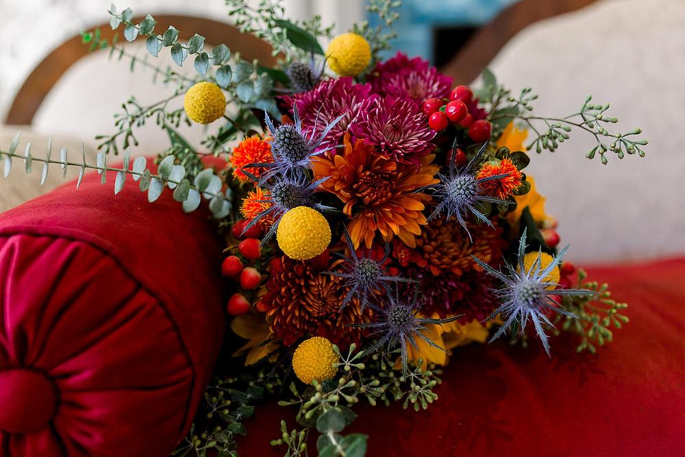 Bridal bouquet fall colors