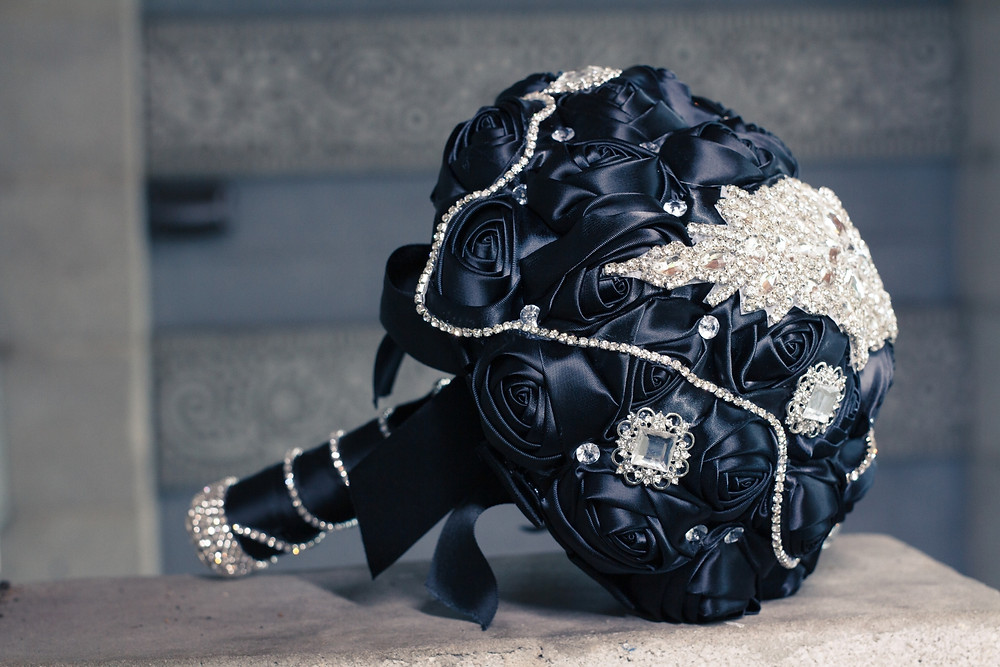 Black rose fabric wedding bouquet jeweled accessories