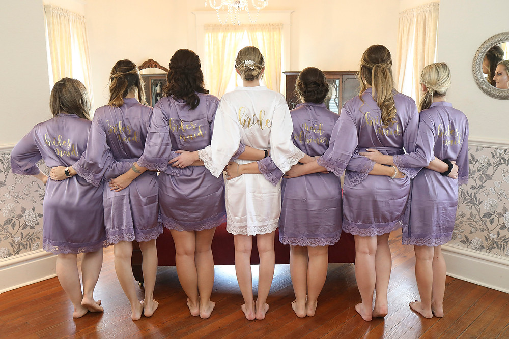 Bridal party getting ready custom robes