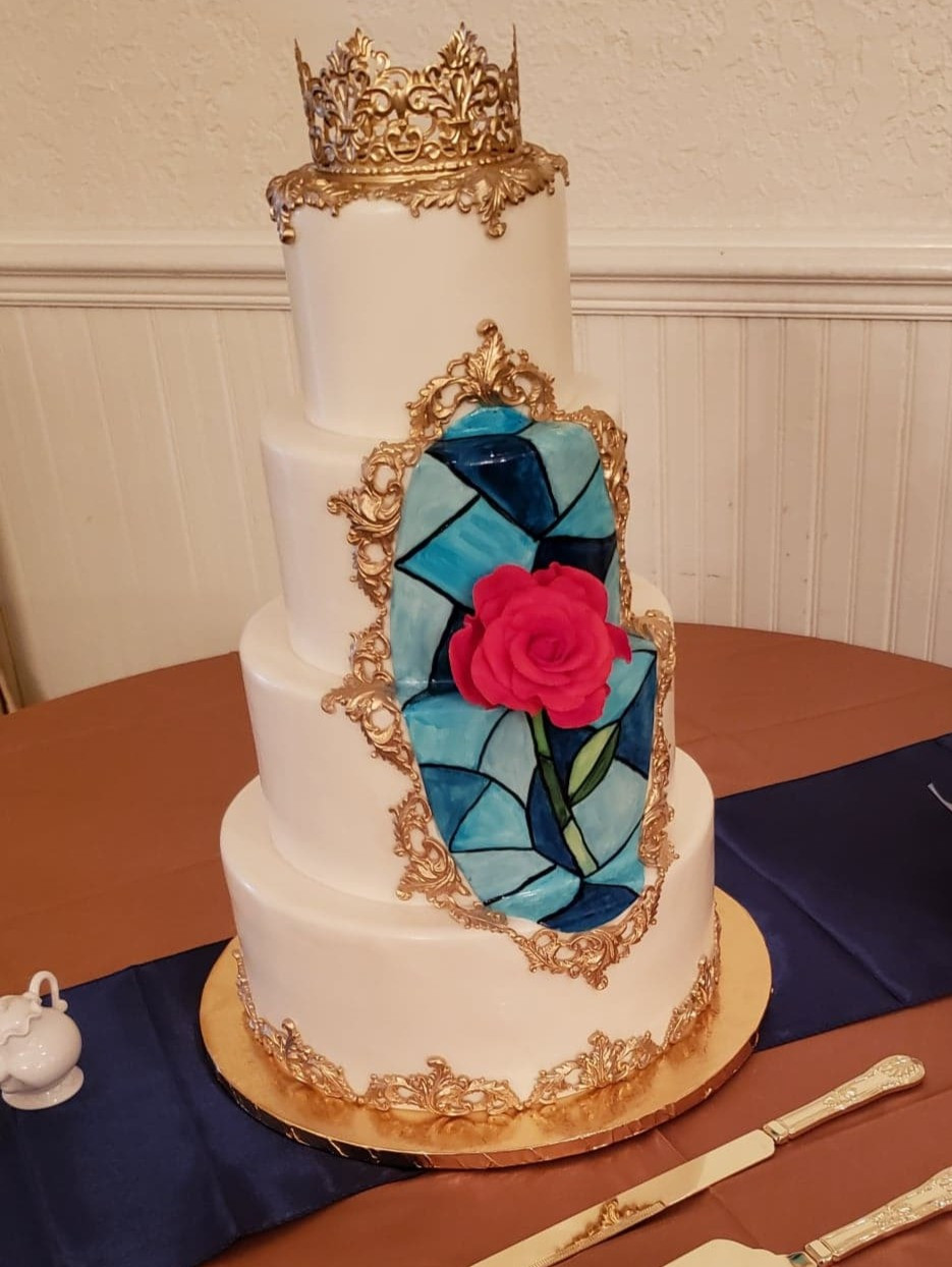 Beauty & The Beast custom decorated wedding cake