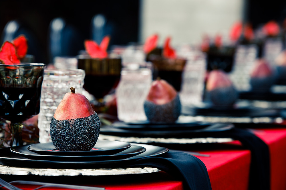 red and black wedding decor plates linens pear theme