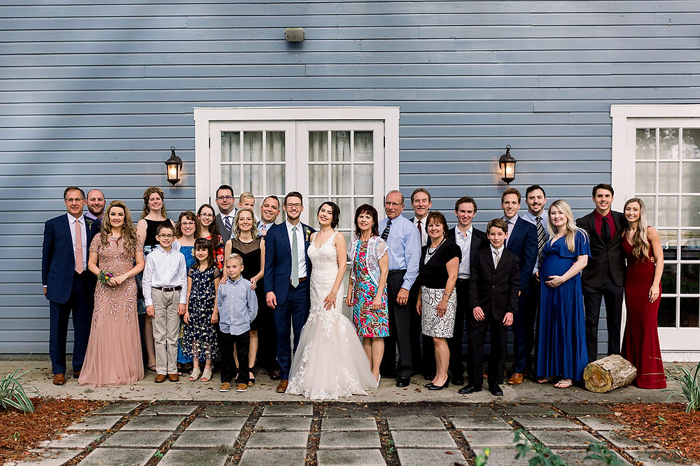 Bride and Groom with Family wedding photo Highland Manor