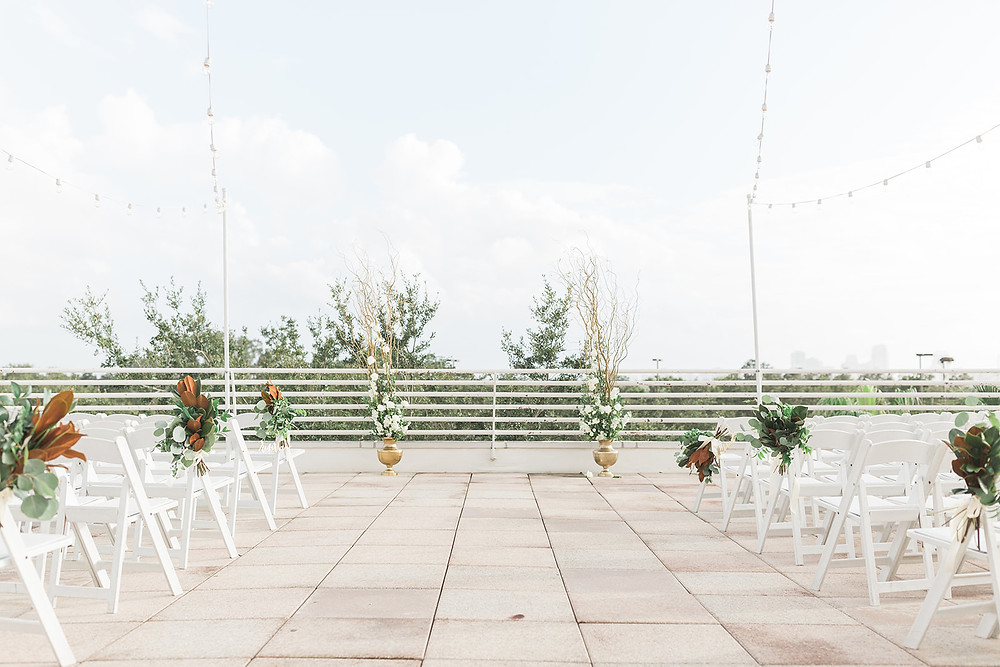 Wedding ceremony setup on the terrace at Orlando Science Center