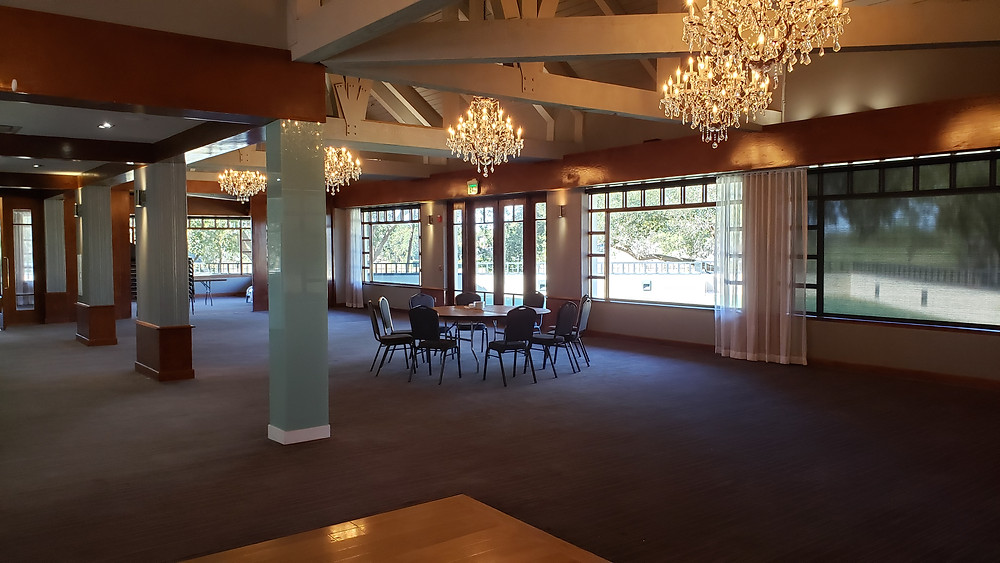 Reception space able to be draped off to separate from indoor ceremony