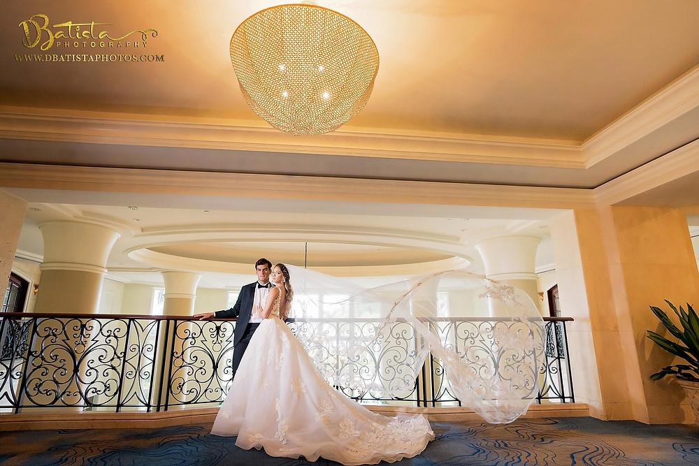 Bride and groom at Ritz Carlton Miami