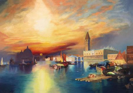 """Master copy of """"Venice"""" by Tomas Moran"""