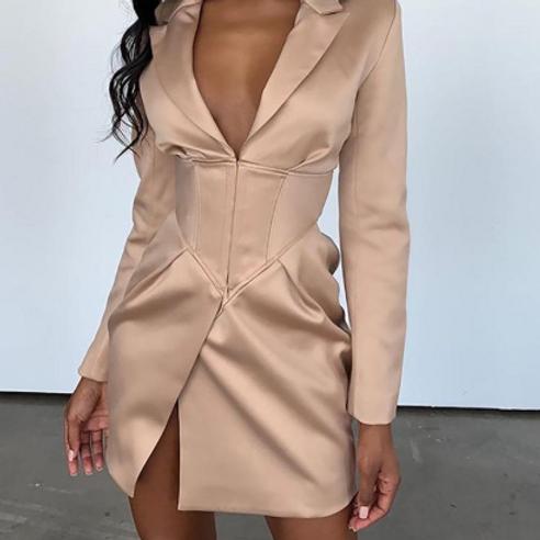 Satin Blazer Dress