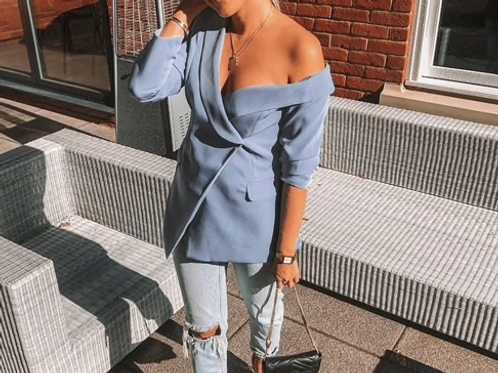 Off Shoulder Blue Blazer