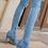 Thumbnail: Ripped Denim Knee High Boot Heels