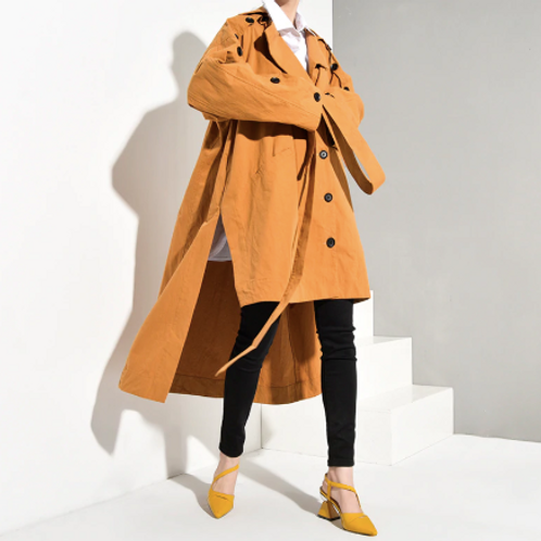 Asymmetrical Brown Trench Coat