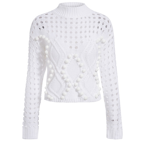 Hollow Out Sweater With Pom-Pom