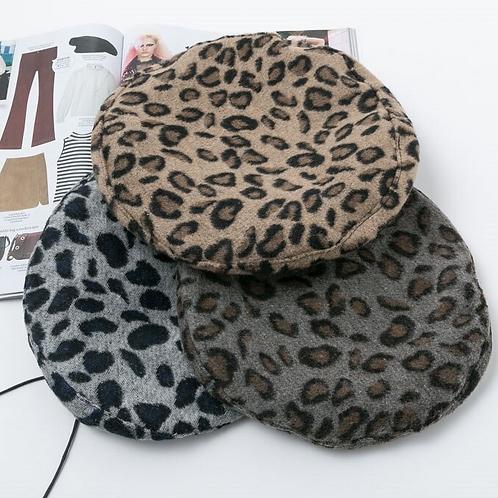 Animal Print Beret Hat