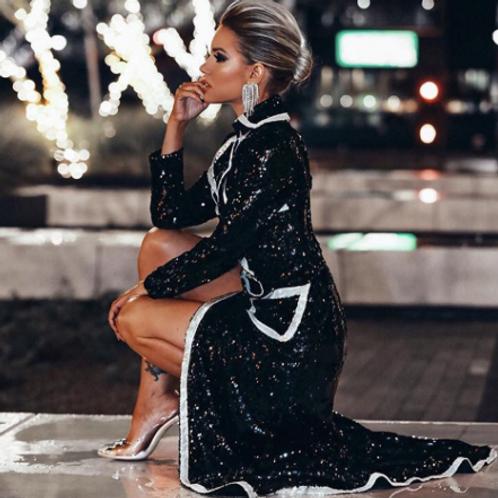 Black & Silver Luxurious Long Coat