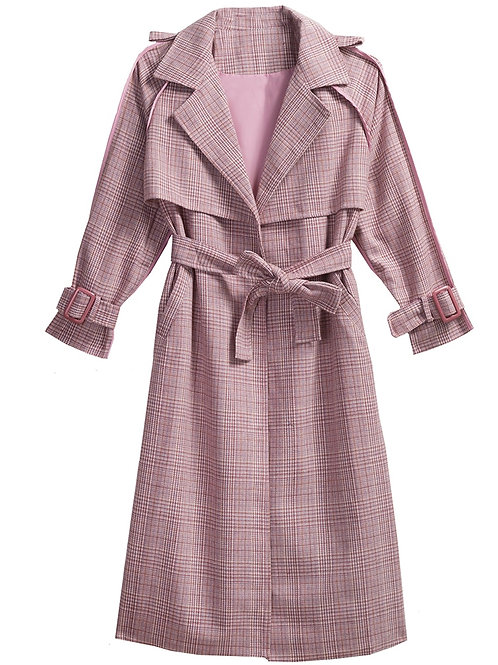 Chequered Long Trench Coat