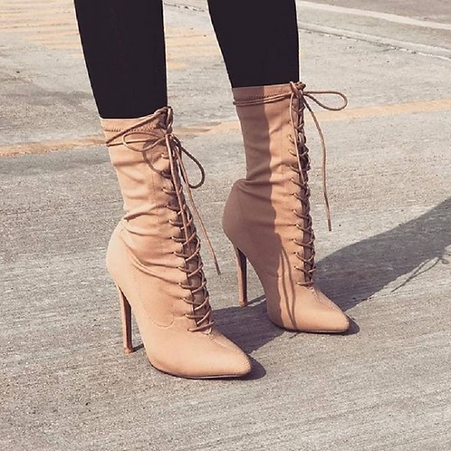 Nude Elastic Lace Up Heels