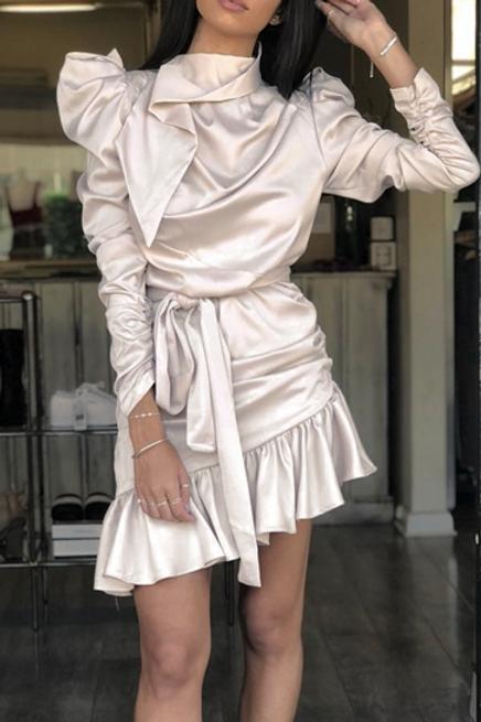 Ruffle Designer Satin Dress