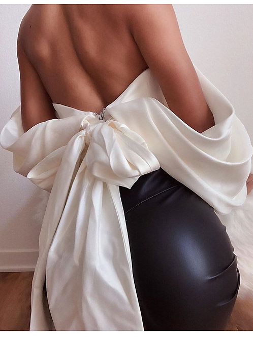 Big Bow Backless Satin Top