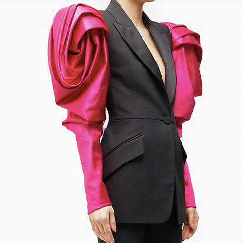 Rose Puff Statement Shoulders Coat