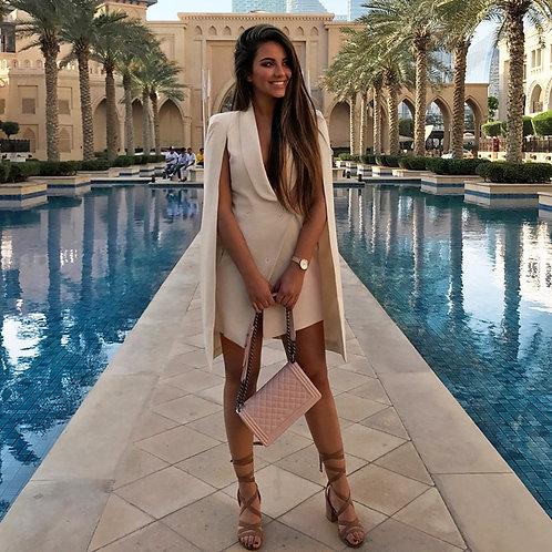 Beige Blazer Dress With Open Sleeves