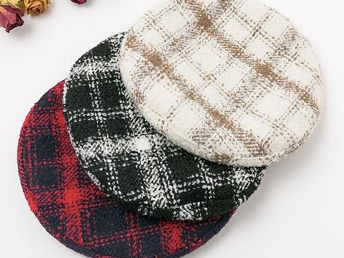 Warm Plaid Beret Hats