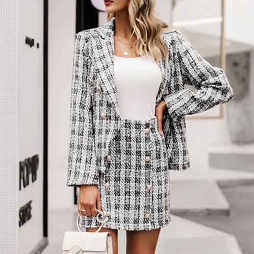 Tweed Plaid Skirt & Blazer