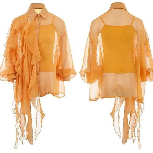 Orange Shirt With Long Ruffles