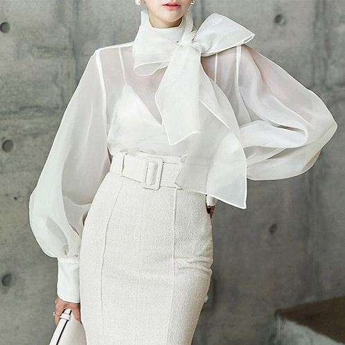 Big Bow Shirt With Puff Sleeves