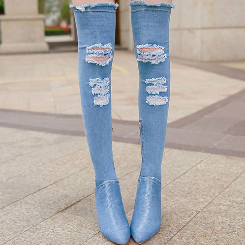 Ripped Denim Knee High Boot Heels