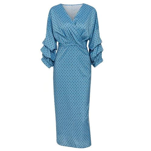 Polka Dot Long Dress With Slit