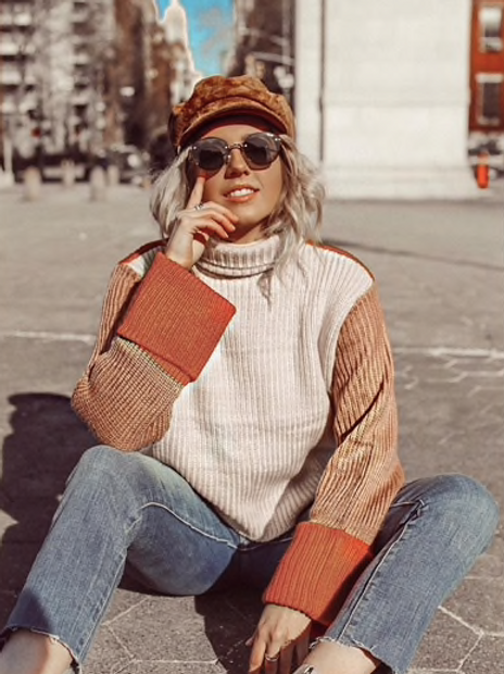 Patchwork Turtleneck Sweater