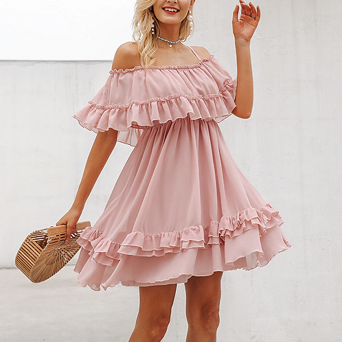 Blush Chiffon Ruffle Dress