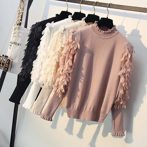 Warm Sweater With Feather Sleeves