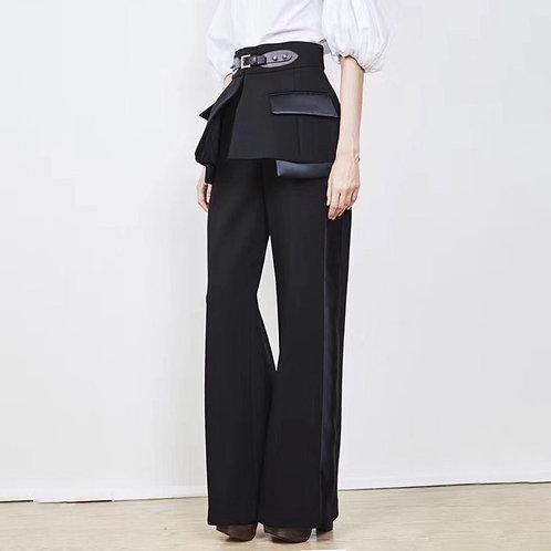 Straight Pants With Detachable Belt