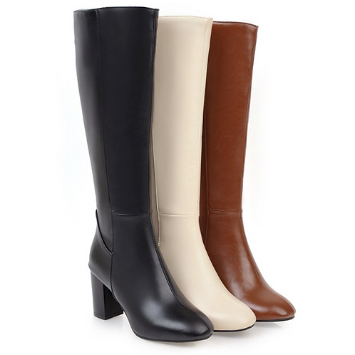 Faux Leather High Boots