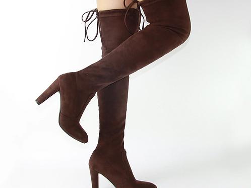 Thigh High Suede Heel Boots