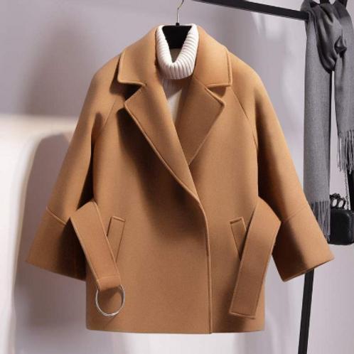 Short Woollen Coat With Belt