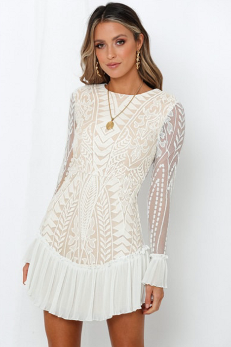Ruffle Geometric Lace Dress