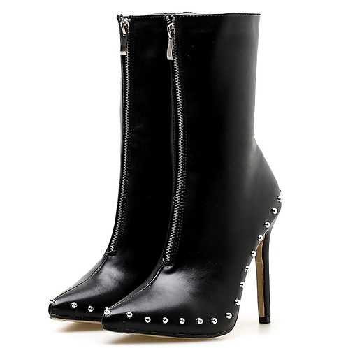 Faux Leather Ankle High Boot Heels