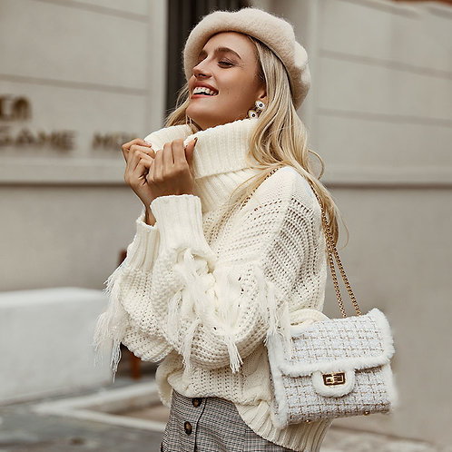 Turtle Neck Sweater With Tassels