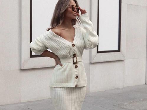 Woolen Skirt & Shirt Set