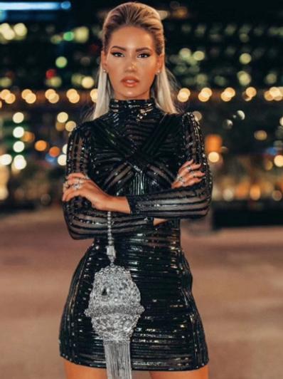 Metallic & Shimmery Black Dress