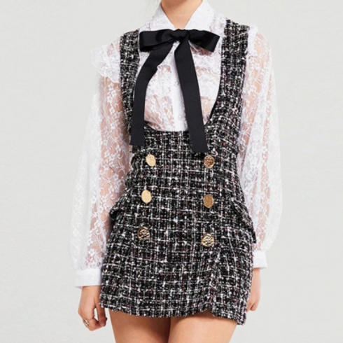 Tweed Dress With Lace Shirt