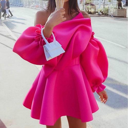 Off Shoulder Frill Designer Dress