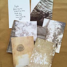 Postcard set 'Light' / 6x postcards in linen