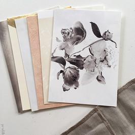Postcard set 'June' / 6x postcards in linen
